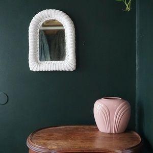 vtg 90s wicker woven white mirror